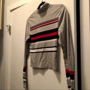 Striped Mock Neck Long Sleeved Crop Top